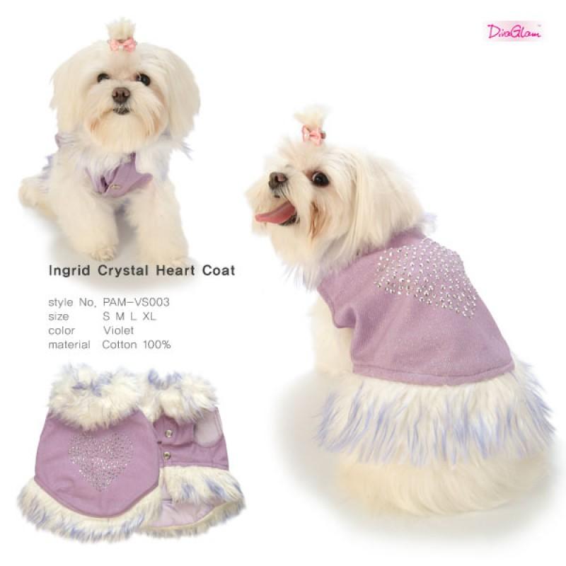 Ingrid Crystal Heart Coat / Violet