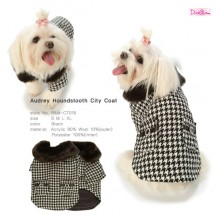 Audrey Houndstooth City Coat / Black