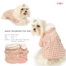 Audrey Houndstooth City Coat / Pink