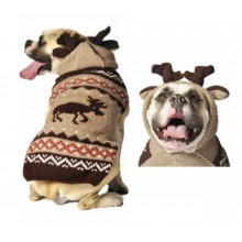 Chilly Dog sweaters Hand Knit Wool Dog Sweater Moosey Hoodie