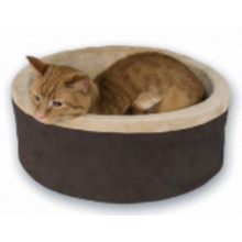 """K&H PET PRODUCTS THERMO INDOOR KITTY BED - MOCHA 16"""" CAT BED"""