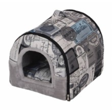 PETPALS CANVAS FLEECE BED CARRIER- GREY
