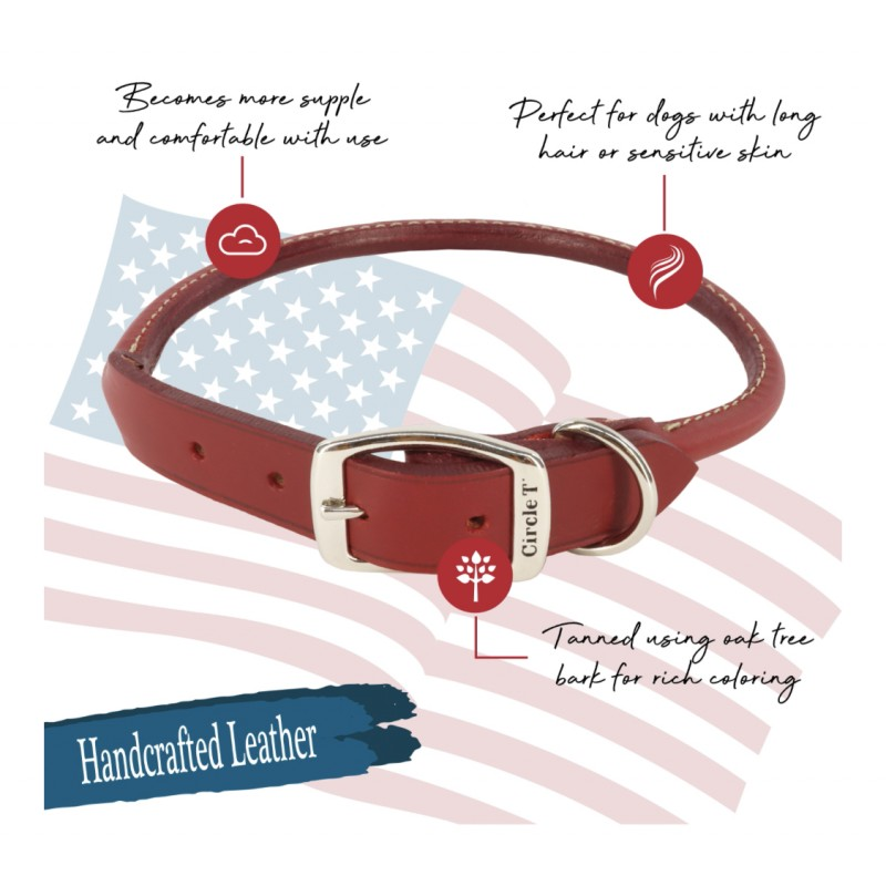 Circle T Oak Tanned Leather Round Dog Collar