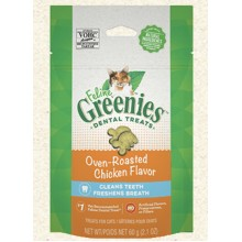 FELINE GREENIES Dental Treats Oven Roasted Chicken Flavor 2.1oz