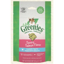 FELINE GREENIES  Dental Treats Savory Salmon Flavor 2.1oz
