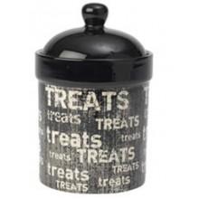 "Vintage 9"" Treat Jar , Black/Natural"