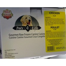 Pets 4 Life Gourmet Raw Frozen Canine  Chicken 4lb