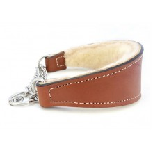 """Auburn Leathercrafters QUALITY Shearling Lined Leather Martingale Dog Collar 14"""" Brown"""